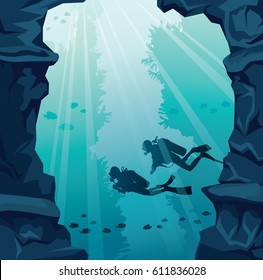 Silhouette of two scuba divers, stone cave and coral reef on a blue sea. Underwater vector illustration.  Marine life.