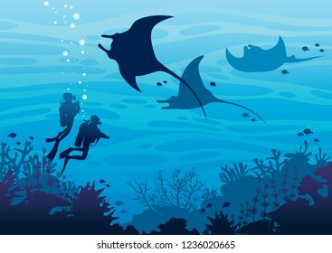 Silhouette of two scuba divers and three mantas swimming near the coral reef and fishes on a blue sea ocean. Underwater tropical marine wildlife. Vector sea illustration. Water sport.