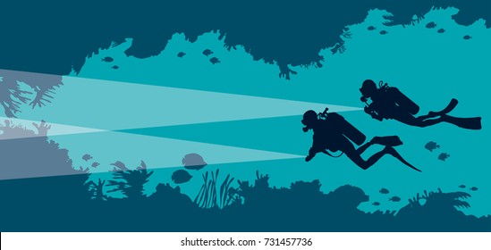 Silhouette of two scuba divers and underwater cave with fishes and corals on a blue sea background. Vector ocean illustration. Marine wildlife and water sport.