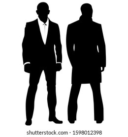 Silhouette of two secret agent detective