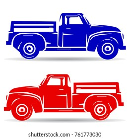 Silhouette of two trucks, red and blue, cartoon on white background, vector