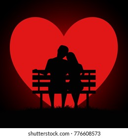 Silhouette of two young lovers sitting on a bench on background of the moon in the form of a heart. Valentines Day Card. Vector illustration