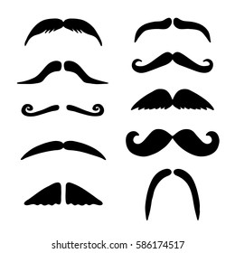 Silhouette of types black mustache. Vector hand drawing male facial hair.