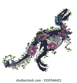 Silhouette of a tyrannosaurus rex skeleton with flowers on white background.