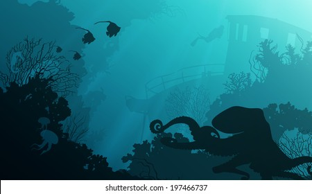 silhouette of underwater marine life and octopus in the foreground. Wreck and diver in the background.