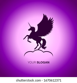 Silhouette unicorn with colorful gradient abstract background for logo design ideas