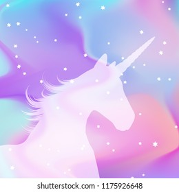 Silhouette of a unicorn on a holographic style background