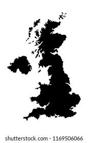 Silhouette of United Kingdom or Great Britain map. Black and white vector illustration isolated