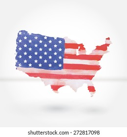 Silhouette of United States of America map, with watercolor texture background, isolated on white