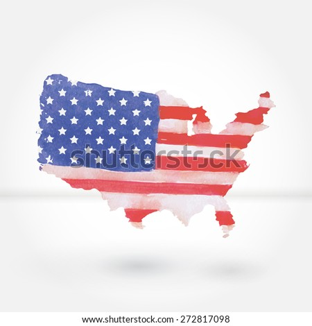Silhouette United States America Map Watercolor Stock Vector ...