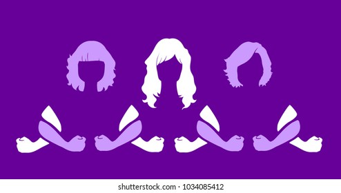 silhouette of united women, vector