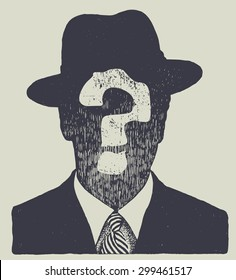 silhouette of an unknown man in a hat and suit. vector illustration.