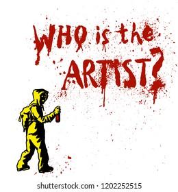 Silhouette of unknown popular graffiti artist witn hand drawn lettering. Free street art concept. Spray stencill illustration