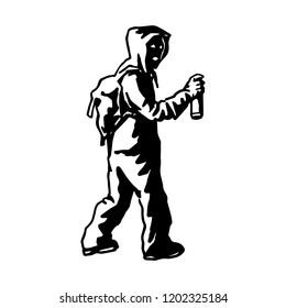 Silhouette of unknown popular graffiti artist. Free street art concept. Spray stencill illustration