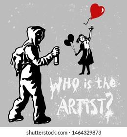 Silhouette of unknown popular graffiti artist with artwork. Free street art concept. Spray stencill illustration