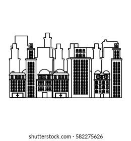 silhouette urban cityscape and residential apartments scene icon vector illustration