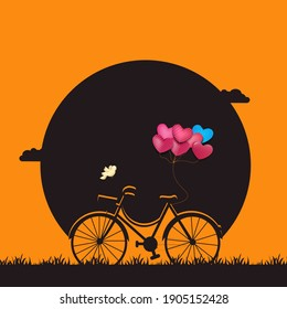 Silhouette of Valentine's Day background, heart balloon string tied to bicycle,