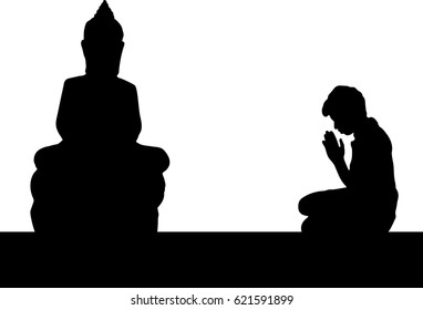 Silhouette vector of Asian young man pay homage to Buddha statue, Buddhist respect, Hands folded in prayer concept for faith, spirituality and religion.