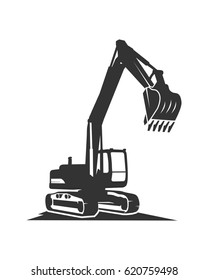 The silhouette vector black excavator on a white background