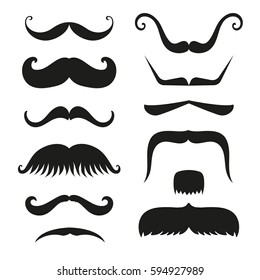 Silhouette vector black white mustache hair hipster curly collection beard barber and gentleman symbol fashion human facial gave vector illustration.
