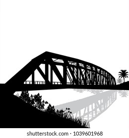 silhouette vector of bridge over the river with reflection. black object on white background. EPS 10