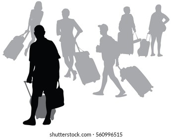 Silhouette vector of Business People Airport Terminal Travel Departure Concept