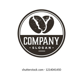 Silhouette Vector Coffee Bean Sign Symbol Vintage Circle Logo Template Design Inspiration