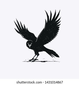 Silhouette vector of crow with head facing forward