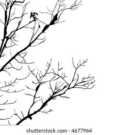 Silhouette vector of dead tree limbs