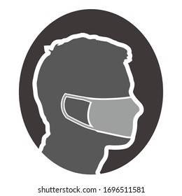 Silhouette vector design of people wearing masks