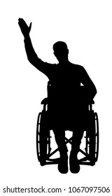 Silhouette vector of a disabled man in a wheelchair waving his hand. The concept of people with disabilities