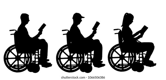 Silhouette vector disabled man and woman in a wheelchair reading a book. Concept of the way of life of people with disabilities