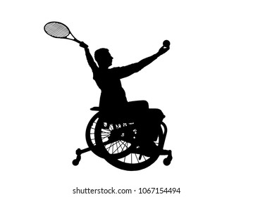 Silhouette vector of disabled person in a wheelchair playing tennis. The concept of disabled people leading an active lifestyle