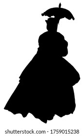 Silhouette vector graphic of a woman in civil war era dress with parasol