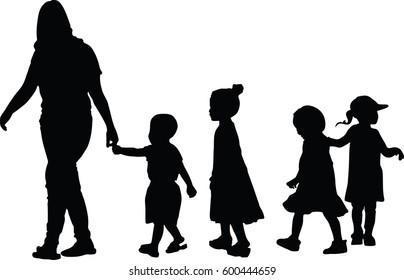 Silhouette vector of Group of children on a walk.