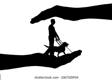 Silhouette vector In hands a blind man and dog guide. Concept of helping blind people with disabilities