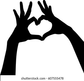 silhouette vector of hands silhouettes with hearts on white background
