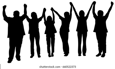 Silhouette vector of happy business team making high hands for business teamwork concept, Large group of people celebrating.