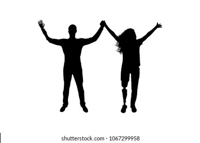Silhouette vector Happy man and woman holding hands with artificial limbs hands and legs. The concept of prosthetic limbs and happy disability