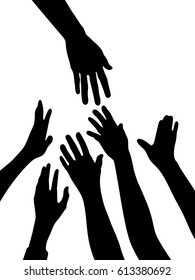 silhouette vector of helping hands