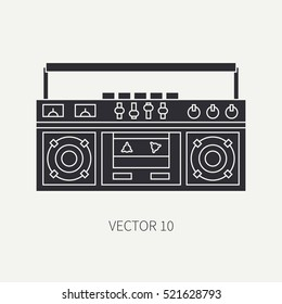 Silhouette vector icon with retro electrical audio device boombox. Analog broadcast. Music. Cartoon style. Nostalgia musical equipment. Vector illustration , element for your design. Receiver. Stereo.
