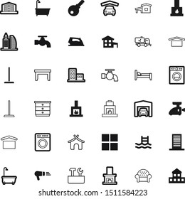 silhouette vector icon set such as: decorative, motel, pool, desk, hardware, hospital, block, warehouse, hostel, housing, town, spanner, cloth, barber, sport, security, kitchen, sea, chimney, repair
