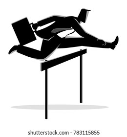 Silhouette vector illustration of a businessman running with briefcase, business, obstacle, energetic, dynamic concept