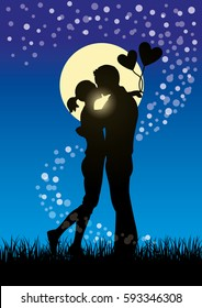 Silhouette vector illustration of romantic lovers kissing couple in a field of grass at moonlight