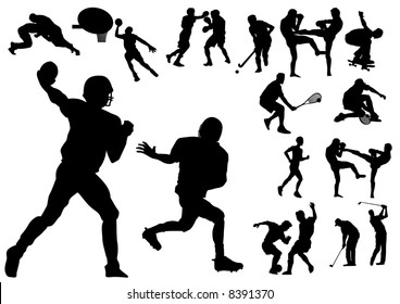 Silhouette vector illustration of several sportsmen