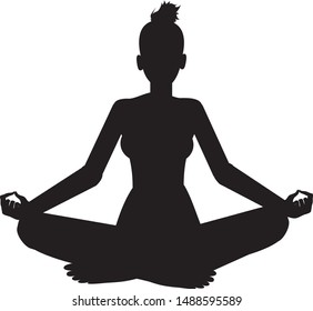 Silhouette, Vector illustration of a woman in a lotus pose - Vector