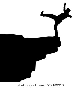 Silhouette vector of Man falling from the cliff edge. Conceptual scene. Danger cliff vector
