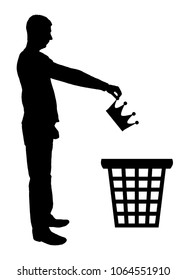 Silhouette vector of a man throws a crown in the garbage bin. The concept of selfishness as a bad habit from which it is necessary to refuse