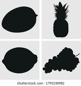 Silhouette vector of mango pineapple lemon and grapes