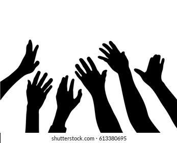 silhouette vector of Many Hands raise high up on white background